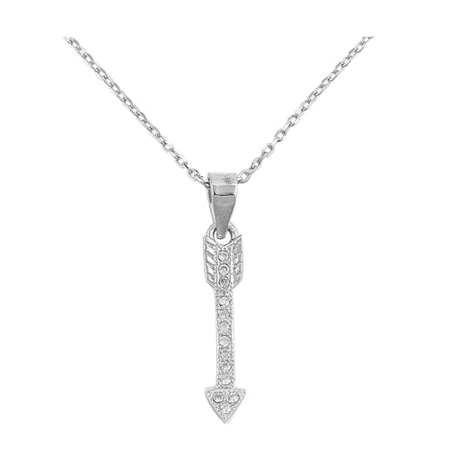 925 Sterling Silver Arrow Necklace With CZ's