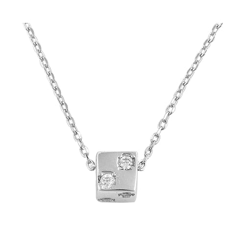 925 Sterling Silver Cube With CZ Necklace