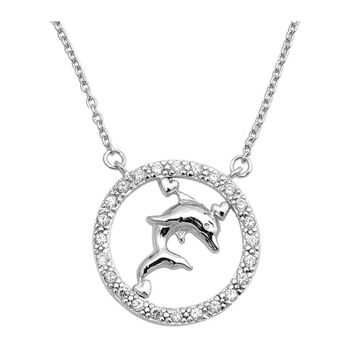 925 Sterling Silver Dolphin & Circle Necklace With CZ's