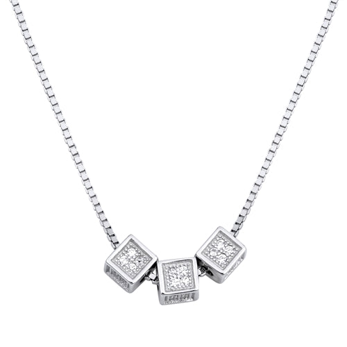 925 Sterling Silver Cube Necklace With CZ's