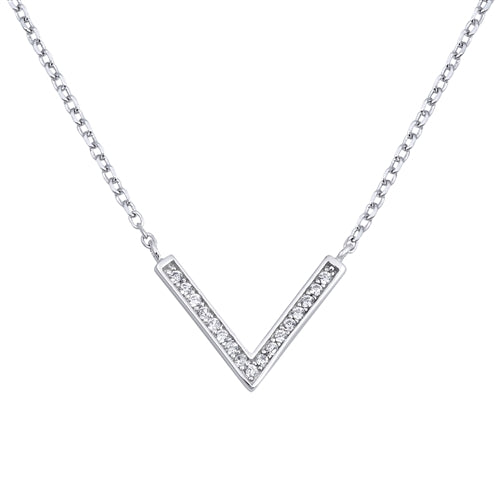 925 Sterling Silver Downward Arrow Necklace With CZ's