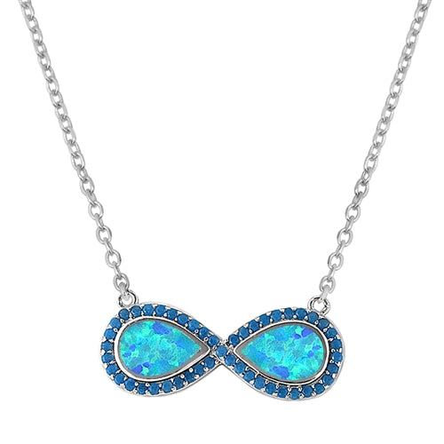 925 Sterling Silver Infinity Symbol Necklace With Opal & CZ's