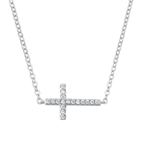 925 Sterling Silver Horizontal Cross Necklace