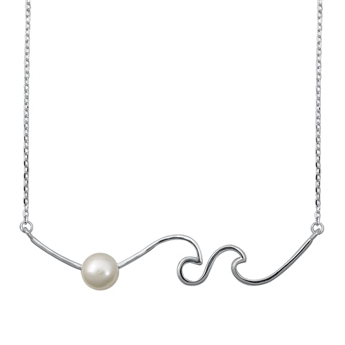 925 Sterling Silver Wave With Fresh Water Pearl Necklace