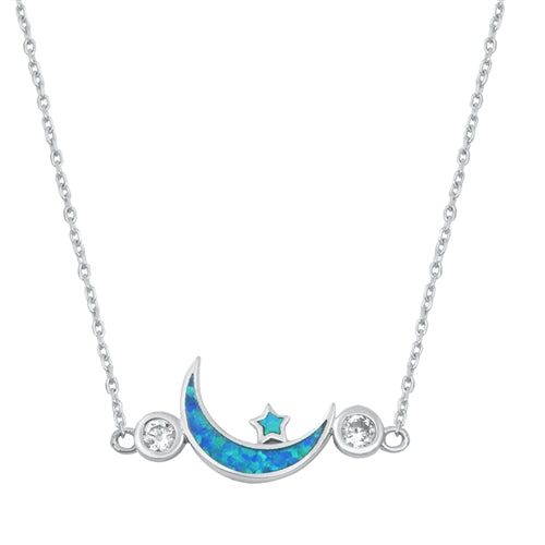 925 Sterling Silver Moon & Star Necklace With Opal & CZ's