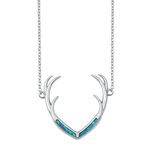 925 Sterling Silver Antlers With Opal Necklace