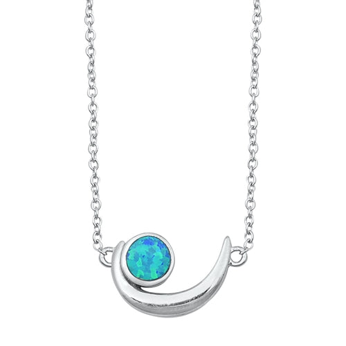 925 Sterling Silver Crescent Moon Necklace With Opal