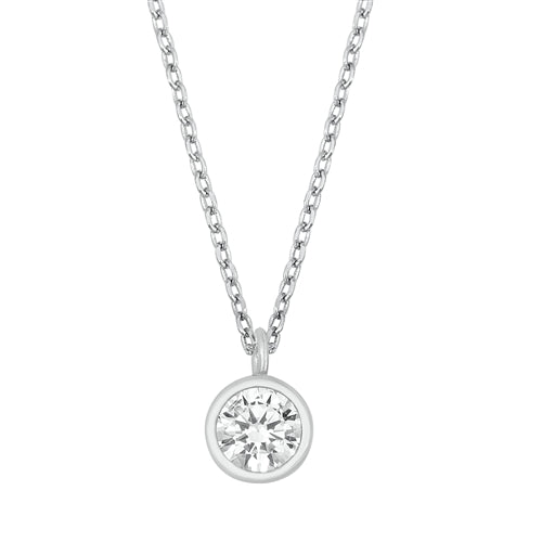 925 Sterling Silver Clear Bezel Setting Solitaire CZ Necklace