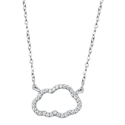 925 Sterling Silver Cloud Necklace With CZ's