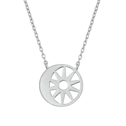 925 Sterling Silver Sun and Moon Necklace