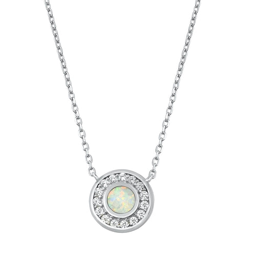 925 Sterling Silver Opal Circle Of Life Necklace With CZ's