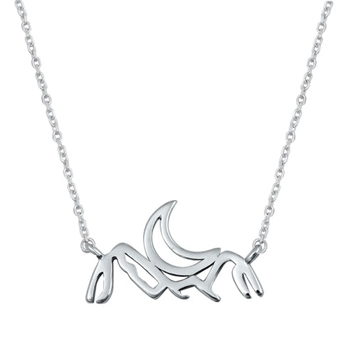 925 Sterling Silver Crescent Moon Over Mountains Necklace