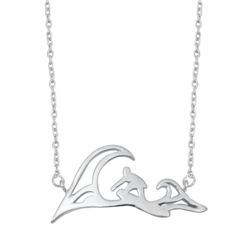 925 Sterling Silver Waves & Surfer Necklace
