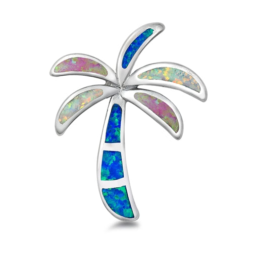 925 Sterling Silver Palm Tree Pendant With Created Opal Inlay