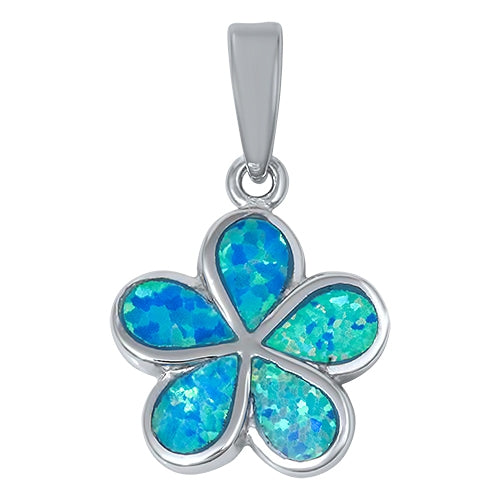 925 Sterling Silver Plumeria Pendant With Created Opal Inlay