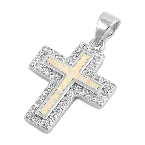 925 Sterling Silver Cross Pendant With Created Opal Inlay