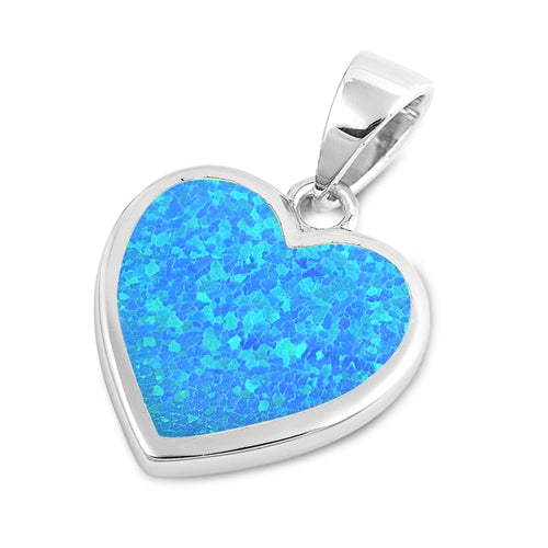 925 Sterling Silver Heart of Aloha Pendant With Created Opal Inlay