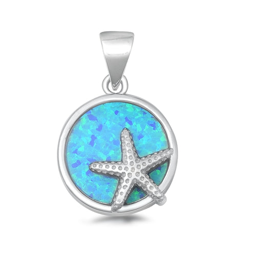 925 Sterling Silver Starfish Pendant With Created Opal Inlay