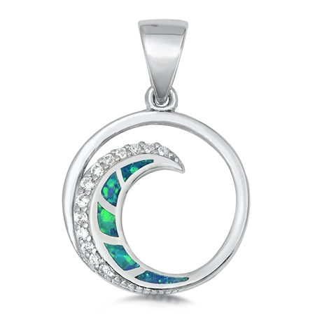 925 Sterling Silver Aloha Wave Pendant With Created Opal Inlay