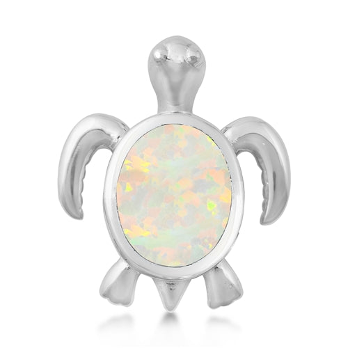 925 Sterling Silver Baby Honu Hawaiian Sea Turtle Pendant With Created Opal Inlay