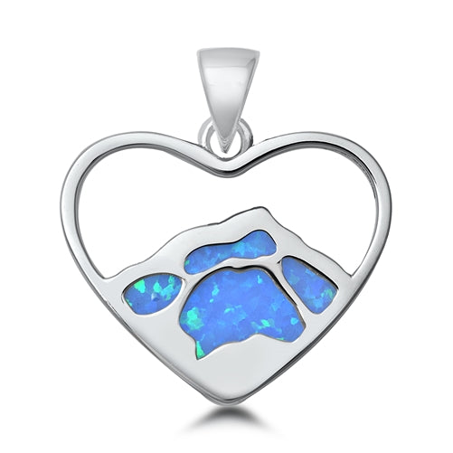 925 Sterling Silver Heart of Mountain Pendant With Created Opal Inlay