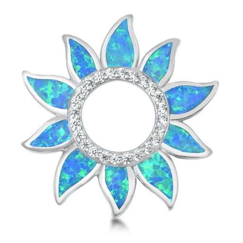 925 Sterling Silver Sun Pendant With Created Opal Inlay & CZ's