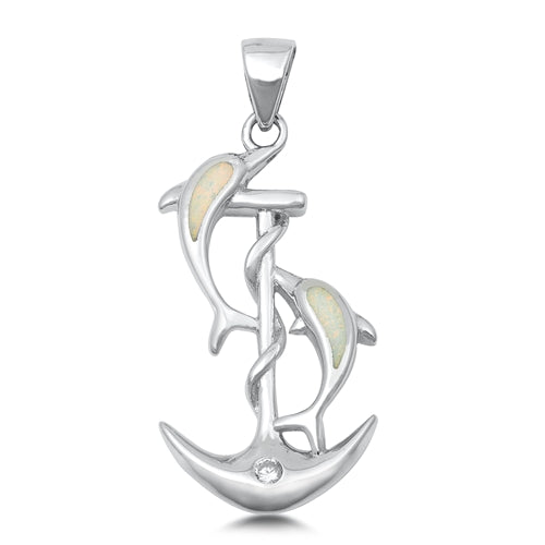 925 Sterling Silver Anchor & Dolphins Pendant With Created Opal Inlay
