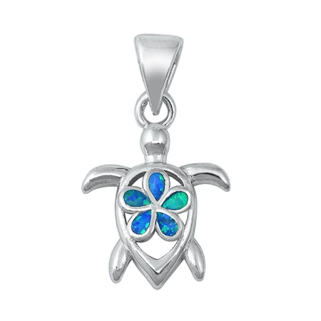 925 Sterling Silver Honu & Plumeria Pendant With Created Opal Inlay