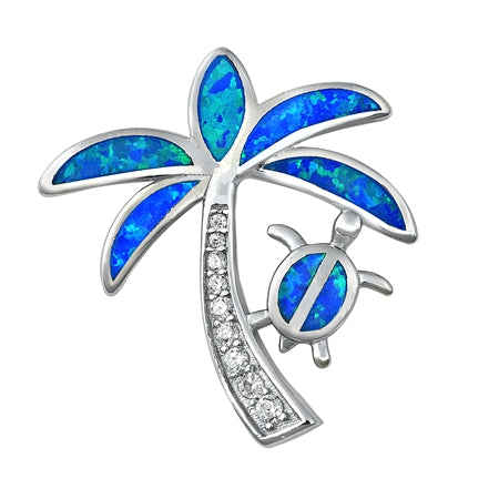 925 Sterling Silver Palm Tree & Honu Pendant With Created Opal Inlay