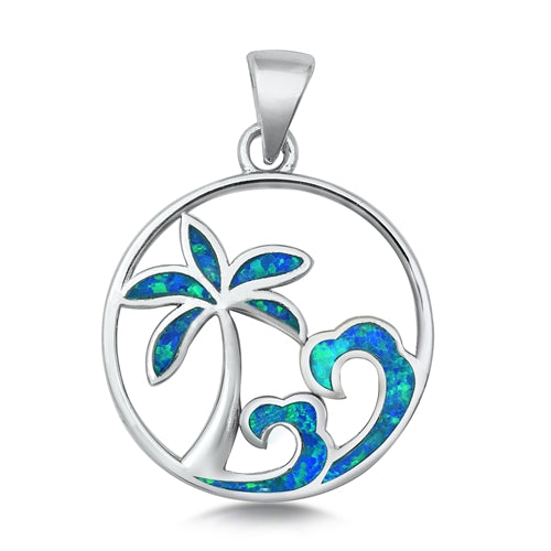 925 Sterling Silver Wave & Palm Tree Pendant With Created Opal Inlay