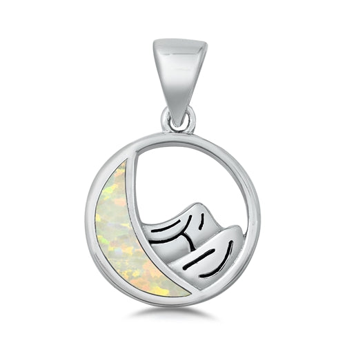 925 Sterling Silver Moon & Mountains Pendant With Created Opal Inlay