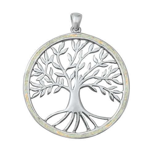 925 Sterling Silver Tree of Life Pendant With Created Opal Inlay