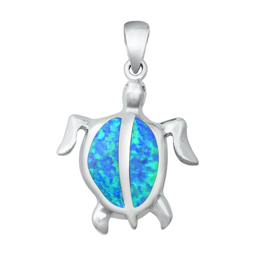 925 Sterling Silver Honu Hawaiian Sea Turtle Pendant With Created Opal Inlay