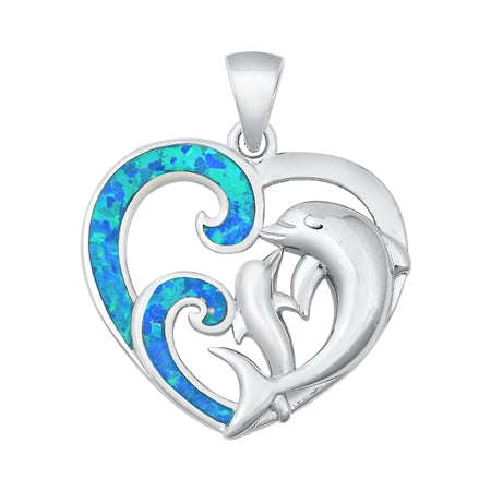 925 Sterling Silver Dolphin & Heart Lover Pendant With Created Opal Inlay