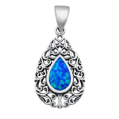 925 Sterling Silver Filigree Pendant With Created Opal Inlay