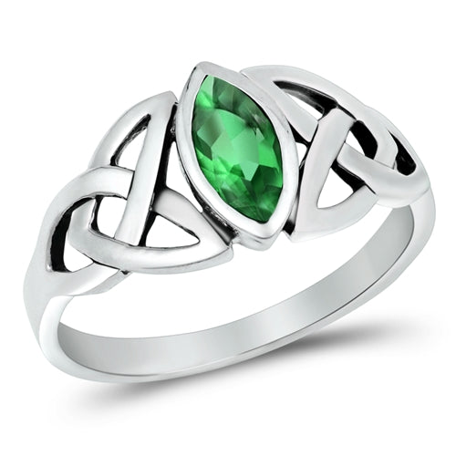 925 Sterling Silver Celtic Ring With Different Color CZ Stone