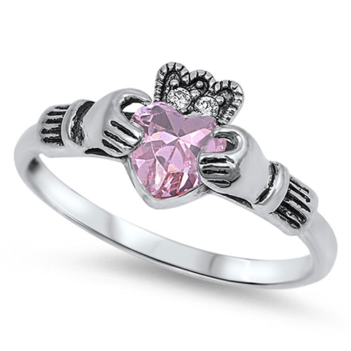 925 Sterling Silver Claddagh Ring With CZ
