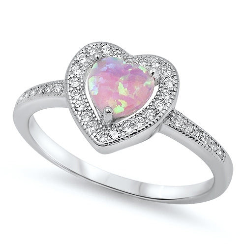 925 Sterling Silver Heart Ring With CZs and Opal