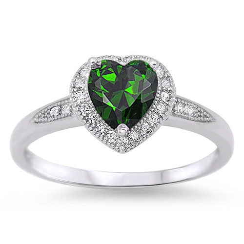 925 Sterling Silver Heart Rings - Choose Your Color Stone