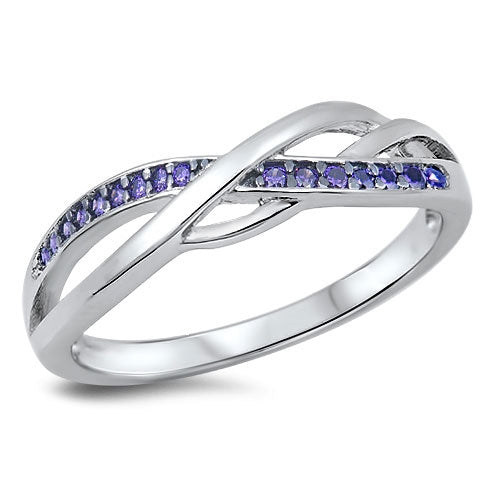 925 Sterling Silver Abstract Infinity Ring - Color CZs