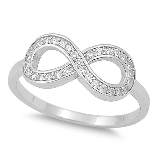 925 Sterling Silver CZ Infinity Ring