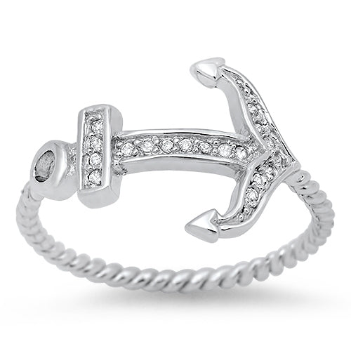 925 Sterling Silver Anchor Ring With CZs.