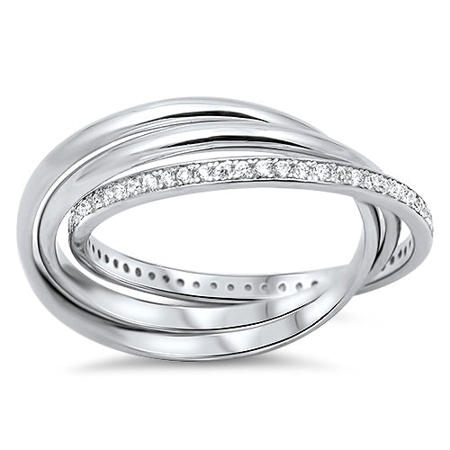 925 Sterling Silver Interconnected Triple Bands