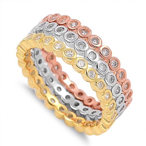 925 Sterling Silver Tri-Color Eternity Ring Set