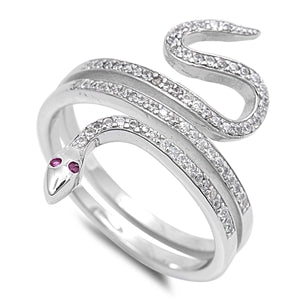 925 Sterling Silver Snake Ring With CZs