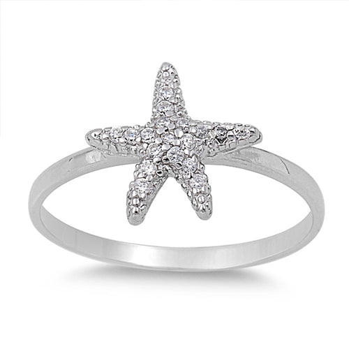 925 Sterling Silver CZ Starfish Ring