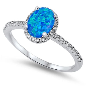 925 Sterling Silver Ring With Oval Cut Opal or CZ