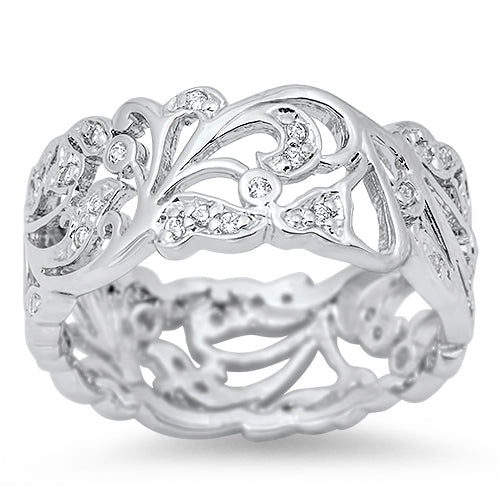 925 Sterling Silver Filigree Ring With CZs