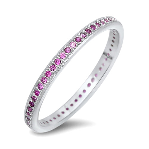 925 Sterling Silver CZ Eternity Ring - 2mm Colored CZ