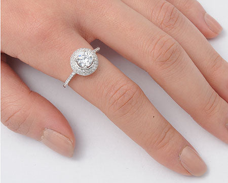 925 Sterling Silver Halo CZ Engagement Ring